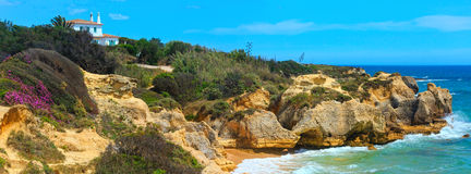 Atlantic blossoming coast view Algarve, Portugal. Royalty Free Stock Photography