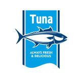 Atlantic bluefin tuna fish icon for seafood design. Atlantic bluefin tuna fish retro icon in blue and white colors. Great for fishing tour promotion or seafood Royalty Free Stock Photos