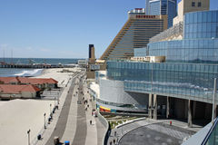 Atlantic City. APRIL 8: The boardwalk in  as seen from the new Revel Hotel on April 8, 2012.   hosts 30 million visitors and brings in approximately 3 billion Royalty Free Stock Image
