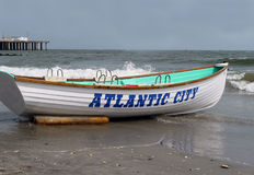 Atlantic City Beach. An empty boat on the beach in Atlantic City Stock Photos