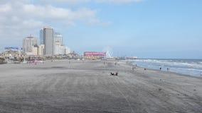 Atlantic City Beach. The Taj Mahal and Resorts hotels and the beach in Atlantic City, New Jersey stock video footage