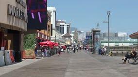 The Atlantic City Boardwalk. Atlantic City, Nj/USA - June 30, 2019: The Atlantic City Boardwalk is no longer packing the big crowds it used to stock footage