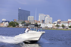 Atlantic City. Boating in the back bay with view of the Atlantic City, New Jersey skyline showing some of the resorts hotels & casinos Royalty Free Stock Images