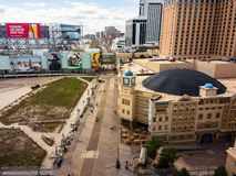 Atlantic City, los E.E.U.U. - 20 de septiembre de 2017: Foto aérea de los casinos y del paseo marítimo de Atlantic City foto de archivo
