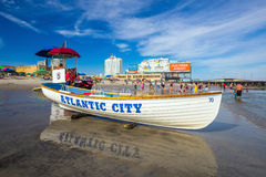 Atlantic City, New Jersey. The boardwalk and Casinos on August 3, 2015 in Atlantic City, New Jersey. Gambling was legalized in the city in 1976 and led to a Royalty Free Stock Photos