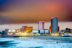 Atlantic City, New Jersey. USA beach and skyline with storm clouds royalty free stock image