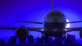 Atlantic City New-Jersey USA Flugzeug entfernen Mond-Nachtblaue Skyline-Reise stock footage