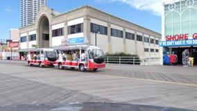 Atlantic City Tram. A tram on the boardwalk in Atlantic City, New Jersey stock footage