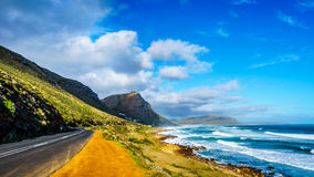 The Atlantic coast along the road to Chapman`s Peak at the Slangkop Lighthouse Royalty Free Stock Photos