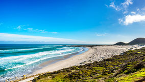 The Atlantic coast along the road to Chapman`s Peak at the Slangkop Lighthouse Stock Images