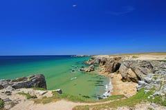 Atlantic coast at Brittany, France. The `Cote Sauvage` wild coast of the Quiberon peninsula, department Morbihan, Brittany, France Royalty Free Stock Photos