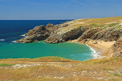 Atlantic coast at Brittany, France. The `Cote Sauvage` wild coast of the Quiberon peninsula, department Morbihan, Brittany, France Stock Images
