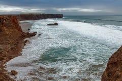 Atlantic coast at cabo de sao vicente Algarve Portugal. Atlantic coastline at cabo de sao vicente Algarve Portugal Stock Photo