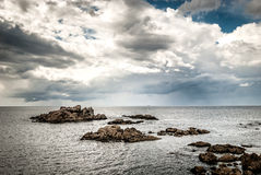 Atlantic coast od northern Spain with sea and clouds. Stock Photography