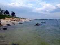 Atlantic coast. Panoramic view of beach and Atlantic ocean in Hyannis town, Cape Cod, Massachusetts, USA Royalty Free Stock Image