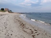 Atlantic coast. Panoramic view of beach and Atlantic ocean in Hyannis town, Cape Cod, Massachusetts, USA Stock Photos