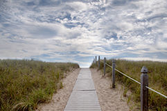 Atlantic Coast path to the ocean. Wooden trail with handrails leading to the ocean with grass on opposite sides stock photos