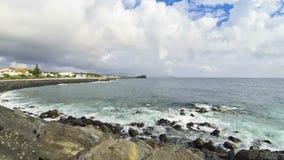 Atlantic coast in Ponta Delgada, Azores islands, Portugal stock footage