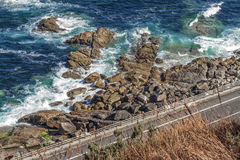 Atlantic Coast sea. Galicia. Stretch of road on the coast of Pontevedra. Galicia Stock Image