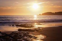 Atlantic coast at sunset, Algarve, Portugal. Stunning beautiful Stock Photo