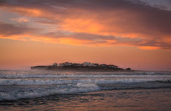 Atlantic coast at sunset, Portugal Stock Photography