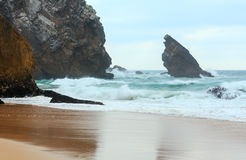 Atlantic coast view in cloudy weather, Portugal. Stock Image
