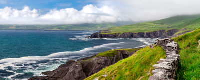 Atlantic Coastal Cliffs of Ireland on the Ring of Kerry, near Wild Atlantic Way. Picturesque vista on the west coast of Ireland, along the Ring of Kerry Royalty Free Stock Images
