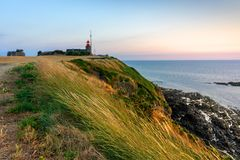 Atlantic coastline by the sunset stock images