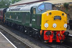Atlantic Conveyor Diesel Train on ELR at Ramsbottom Station. BR Class 40 No. 40106 D306 `Atlantic Conveyor`, BR Green. Built in 1960. Owned by the Class 40 royalty free stock image