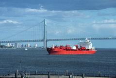 Atlantic entrance to New York USA. Seagoing transport ship awaits berth in port of New York stock photos
