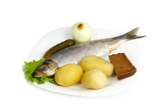 Atlantic herring with boiled potatoes Royalty Free Stock Images