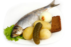 Atlantic herring with boiled potatoes Stock Photo