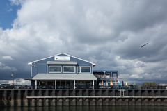On The Deck Restaurant. ATLANTIC HIGHLANDS, NEW JERSEY - September 30, 2017: A view of the On The Deck Restaurant & Harbor View Bar next to teh Atlantic Stock Photo