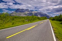 Atlantic Highway. Coastal tourist road in Norway with picturesque view of mountains Stock Images