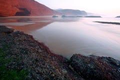 Atlantic landsacape. Sunset colours at Legzira Beach, Morocco, Africa Stock Images