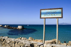 Atlantic Ocean. Sign showing the side of the Oceano Atlantico where Atlantic and Mediterranean Sean meet at Tarifa, Spain Stock Photo