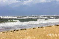 Atlantic ocean, clouds, oleron, atlantic ocean fort boyard, storm, birds, lighthouse Stock Image