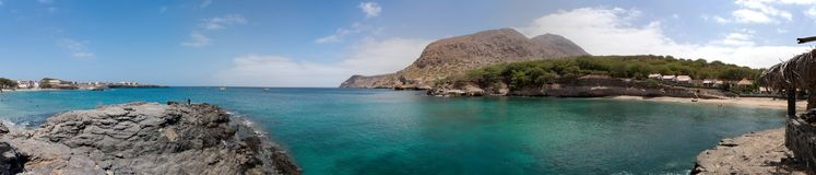 Atlantic ocean and bay. Tarrafal, Island of Santiago, Cape Verde. Panorama, make it from 21 photo Stock Photography
