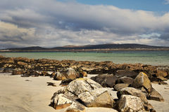 Atlantic Ocean Bay in Ireland. View to ocean bay with beautiful colours in Ireland county Galway Stock Images