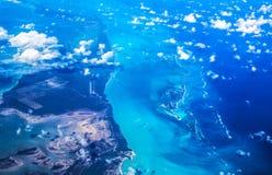 Atlantic Ocean. Bermuda Triangle - Bahamas, top view. Bahamian archipelago, the Bahamas. Islands Great Abaco, Crab Cay, Green Turtle Cay, Little Abaco; Nunjack stock images