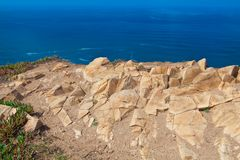 Atlantic ocean from Cabo da Roca, the western point of Europe, P. Ortugal royalty free stock images