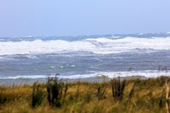 Atlantic ocean, clouds, oleron, atlantic ocean fort boyard, storm, birds, lighthouse Stock Photo