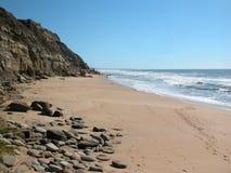 Atlantic Ocean coast. The Atlantic Ocean rocky coast in the summer. Sandy beach Stock Image