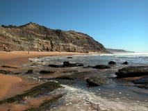 Atlantic Ocean coast. The Atlantic Ocean rocky coast in the summer. Sandy beach Stock Images