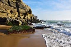 Atlantic Ocean coast, Azenhas do Mar village, Sintra, Lisbon, Po Stock Images