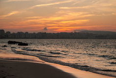 Atlantic ocean coast, bright sunset. Tangier, Morocco Stock Photo