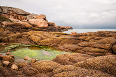 Atlantic ocean coast in Brittany. Near Ploumanac'h (France Royalty Free Stock Photo