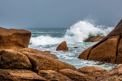 Atlantic ocean coast in Brittany. Near Ploumanac'h (France Royalty Free Stock Photos
