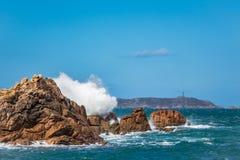 Atlantic ocean coast in Brittany. Near Ploumanac'h (France Royalty Free Stock Photography