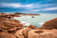 Atlantic ocean coast in Brittany. Near Ploumanac'h (France Royalty Free Stock Image